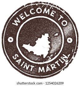 Saint Martin map vintage stamp. Retro style handmade label, badge or element for travel souvenirs. Brown rubber stamp with island map silhouette. Vector illustration.