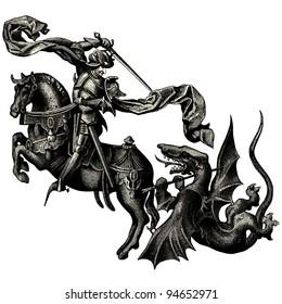 """Saint Michael archangel - vintage engraved illustration - """"La mosaique """" edited by A.Bourdilliat  1875 - Paris"""