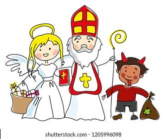 Saint Nicholas, angel and devil