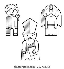 Saint Nicholas, angel and devil as black lined icons.