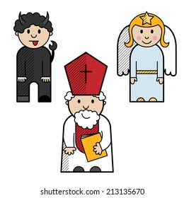 Saint Nicholas, angel and devil colored in a simple style.