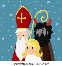 Saint Nicholas with angel, devil and falling snow. Cute Christmas invitation card, vector illustration, winter background.