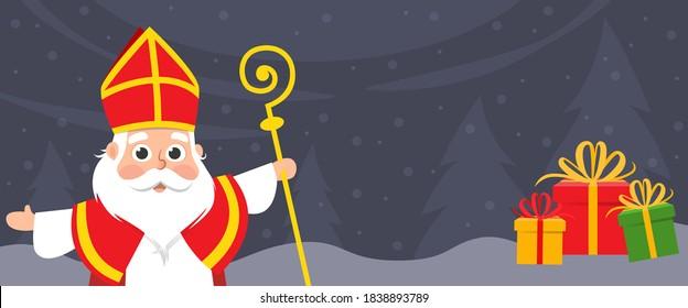 Saint Nicholas celebrate holidays on winter landscape - banner