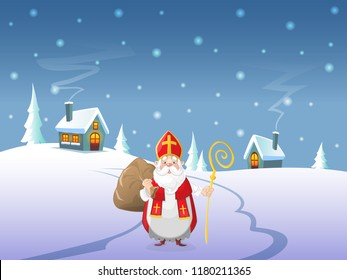Saint Nicholas is coming to village - Winter landscape at night