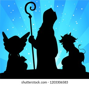 Saint Nicholas, Devil and Angel Silhouette Vector Illustration