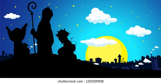 Saint Nicholas, Devil and Angel Silhouette Banner Vector Illustration