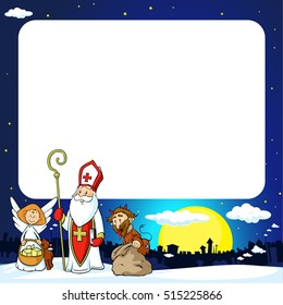 Saint Nicholas, devil and angel in town - vector illustration frame .During the Christmas season they are warning and punishing bad children and give gifts to good children.