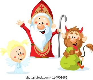 Saint Nicholas Devil And Angel