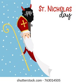 Saint Nicholas with devil and falling snow. Cute Christmas invitation card, web banner with blank list of paper.  Vector illustration background.