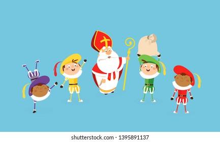 Saint nicholas and helpers celebrate and having fun - vector illustration cartoon style