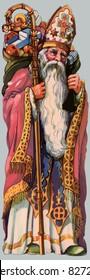 Saint Nicholas in his guise as the patron Saint of Christmas