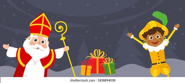 Saint Nicholas and kid celebrate holidays on winter landscape - banner