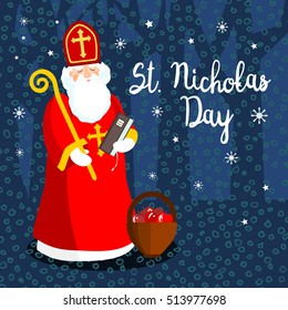 Saint Nicholas in the night, vector greeting card