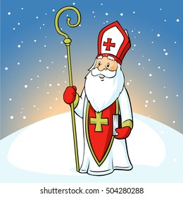 Saint Nicholas on snowy background - vector illustration
