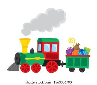 saint nicholas santa claus gift steam train holiday illustration