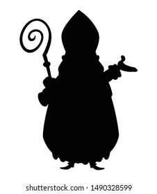 Saint Nicholas silhouette isolated on transparent background