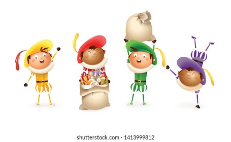 Saint Nicholas or Sinterklaas helpers  - happy cute colorful Dutch traditional characters - Zwarte Piet vector illustration isolated on white