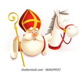 Saint Nicholas Sinterklaas with horse on board - vector illustration isolated on transparent background