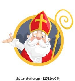 Saint Nicholas or Sinterklaas. Portrait on circle banner - vector illustration isolated on white background