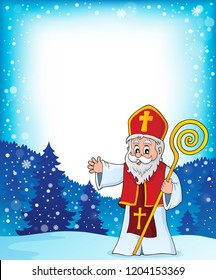 Saint Nicholas topic frame 1 - eps10 vector illustration.