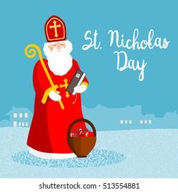 Saint Nicholas, vector greeting card