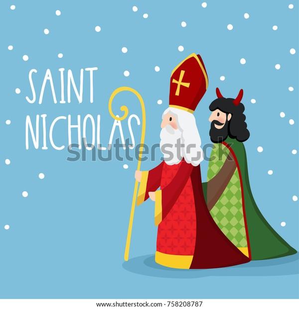 Image Vectorielle De Stock De Saint Nicolas Marchant Avec Le