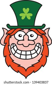Saint Paddy's Day Leprechaun wearing a big green hat with a shamrock while smiling and feeling embarrassed