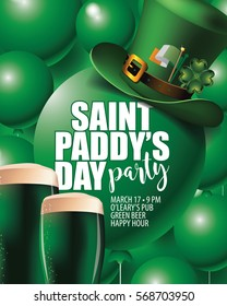 saint Paddys Day party invitation green balloons background. Template design for your celebration on St. Patricks Day. EPS 10 vector.
