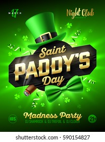 Saint Paddy's Day party poster, Saint Patrick's Day design leprechaun hat, gold lettering, party streamers, green bow tie and smouldering cigar on bright shining green background, vector.