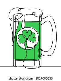 Saint Patrick Day Beer Continuous Line Vector