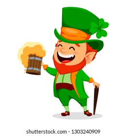 Saint Patrick day. Funny Leprechaun. Cute cartoon character holding a pint of fresh beer. Vector illustration on white background.