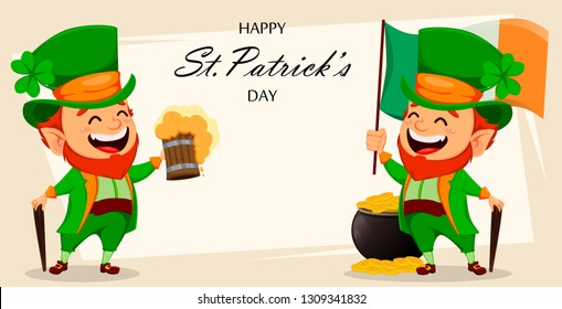 Saint Patrick day greeting card with two funny Leprechauns. Cute cartoon characters holding Ireland flag and holding a pint of beer. Vector illustration