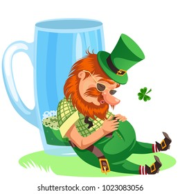 Saint patrick day leprechaun with mug of green beer, glass full alcohol ale, drunk man cylinder with celtic irish symbol of luck shamrock leaf, cartoon elf isolated on white vector illustration