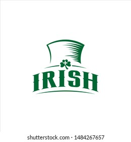 Saint Patrick Day logo Irish hat green badge design template.  ceremony vector or party icon inspiration