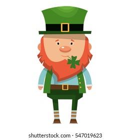Saint Patrick. National Irish holiday. Vector illustration isolated on white background.