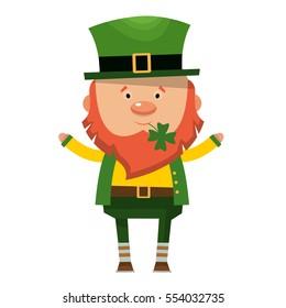 Saint Patrick. National Irish holiday. Vector illustration isolated on white background