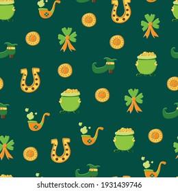 Saint Patrick s Day seamless pattern. Holiday Vector Illustration Background