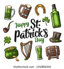 Saint Patrick s Day. Top gentleman hat, Pot of gold coins, whiskey, smoking pipe, beer glass, lyre, horseshoe, clover, barrel. Vector vintage color engraved illustration. Isolated on white background