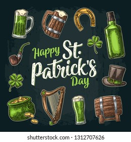 Saint Patrick s Day. Top gentleman hat, Pot of gold coins, whiskey, smoking pipe, beer glass, lyre, horseshoe, clover, barrel. Vector vintage color engraved illustration. Isolated on dark background.