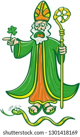 Saint Patrick wearing his ceremony garments while yelling at and chasing a snake. He holds a green clover while pointing to his right. The scared snake looks at St Patrick while looking for the exit