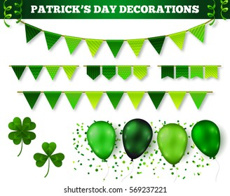 Saint Patrick's Day 3D Decorations Set Isolated on White. Vector Illustration. Flag Garlands,  Balloons in Traditional Colors, Confetti and Serpentine. Three   and four leaf clovers.