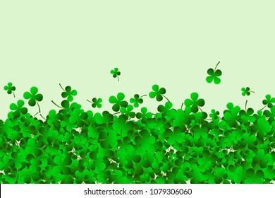 Saint Patricks day background with clover leaves or shamrocks. Vector illustration.