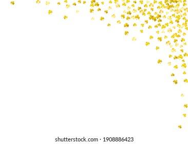 Saint patricks day background with shamrock. Lucky trefoil confetti. Glitter frame of clover leaves. Template for poster, gift certificate, banner. Decorative saint patricks day backdrop.