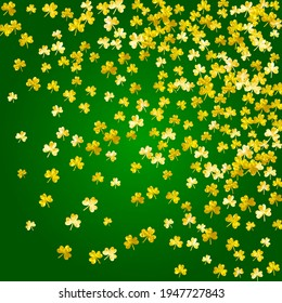 Saint patricks day background with shamrock. Lucky trefoil confetti. Glitter frame of clover leaves. Template for voucher, special business ad, banner. Dublin saint patricks day backdrop.