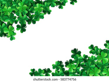 Saint Patricks day background with sprayed clover leaves or shamrocks.