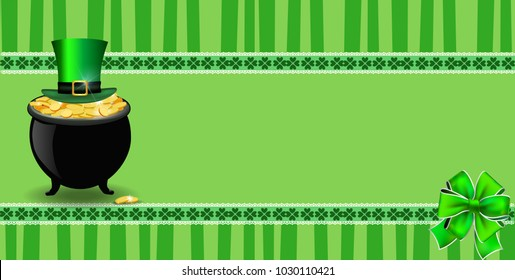 Saint Patricks Day banner with clover bow, pot full of leprechauns gold, hat on green striped background with elegant shamrock leaves border. Vector festive template for card, poster with copy space