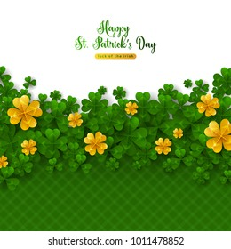 Saint Patrick's Day Border with Green and Gold, Four and Tree Leaf Clovers. Vector illustration. Party Invitation Design, Typographic Template. Lucky and success symbols. Place for your text