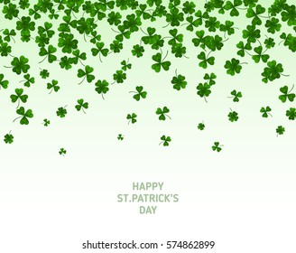 Saint Patrick's Day Border with Green Four and Tree Leaf Clovers on White Background. Vector illustration. Party Invitation Design, Typographic Template. Lucky and success symbols