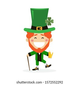 Saint Patricks day with boy in traditional dress and headgear. Ireland celebration festival irish and lucky theme. Vector illustration
