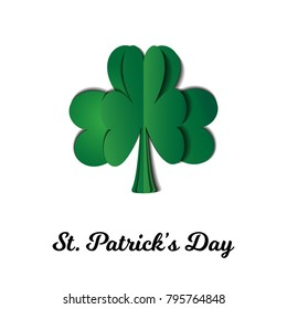 Saint Patrick's Day Card with Clover and Text. Vector Illustration. Trendy Paper Cut Style. Beautiful Holiday Greeting Decorative Design.